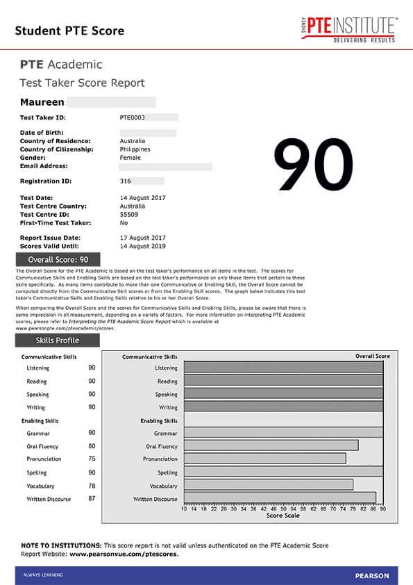 Sydney PTE Institute, Student Result, Maureen, 90 Score
