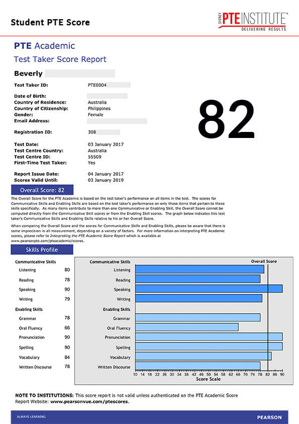 Sydney PTE Institute, Student Result, Beverly, 82 Score