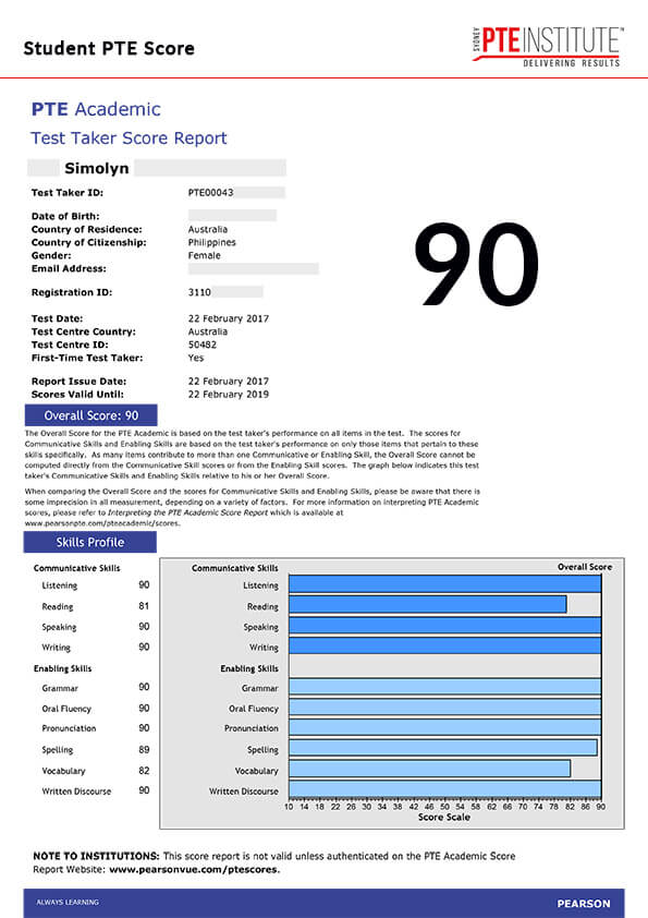 Sydney PTE Institute, Student Result, Simolyn, 90 Score