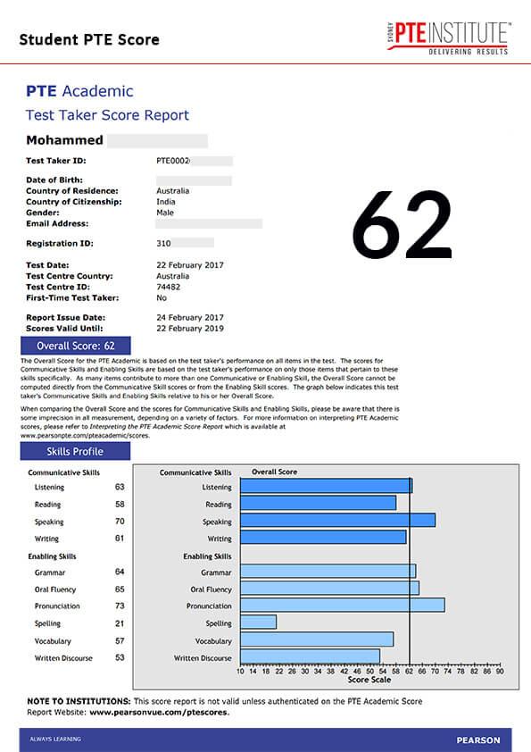 Sydney PTE Institute, Student Result, Raheem, 62 Score