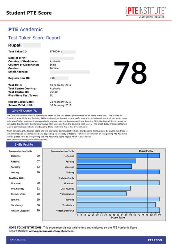 Sydney PTE Institute, Student Result, Rupali, 78 Score
